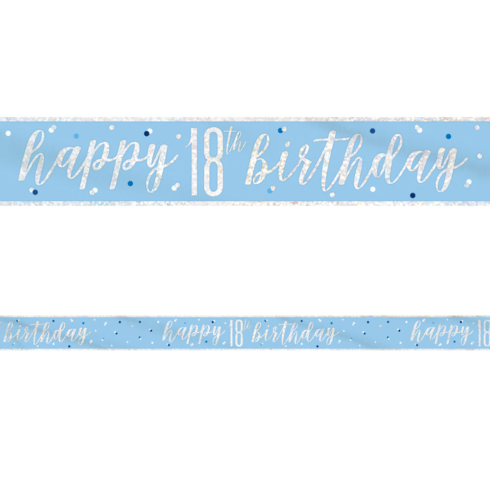 Birthday Glitz Blue Happy 18th Birthday Foil Banner - 2.7m
