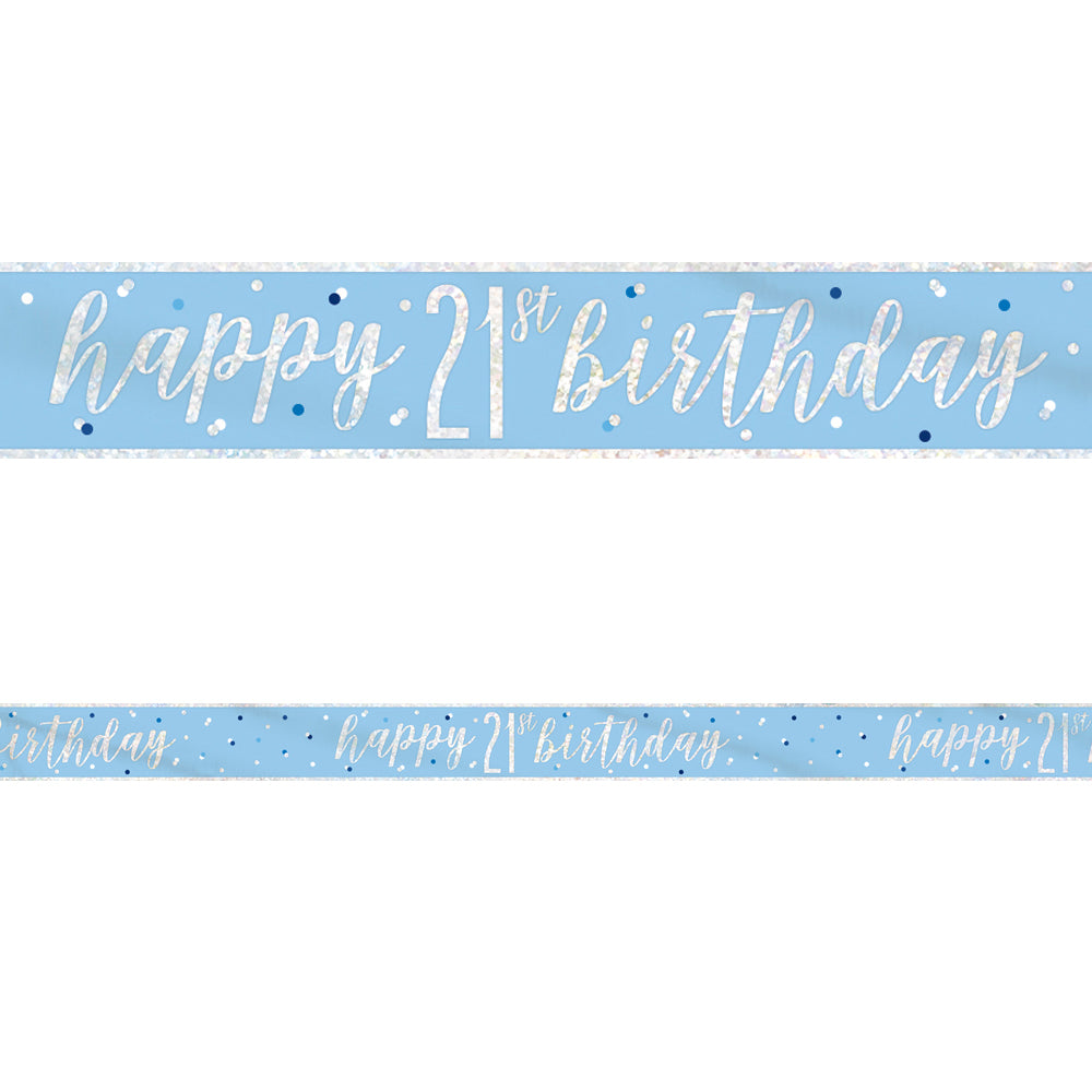 Birthday Glitz Blue Happy 21st Birthday Foil Banner - 2.7m