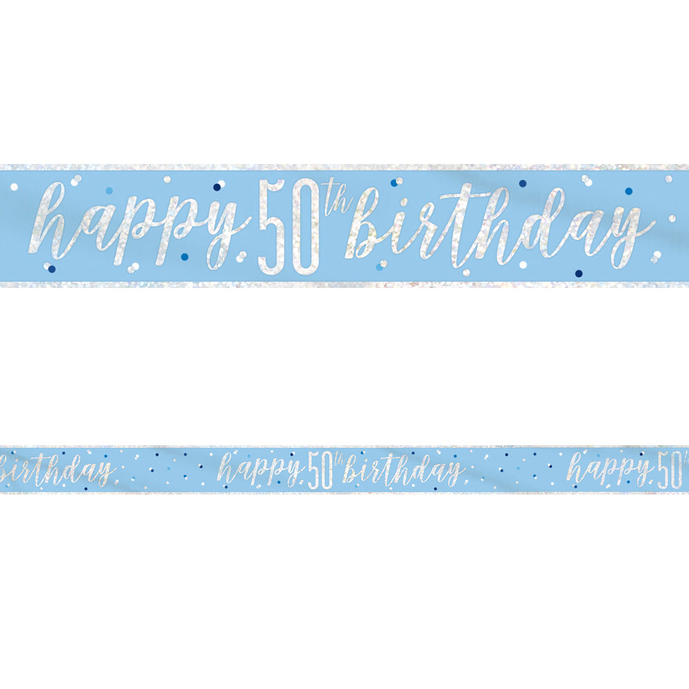 Birthday Glitz Blue Happy 50th Birthday Foil Banner - 2.7m