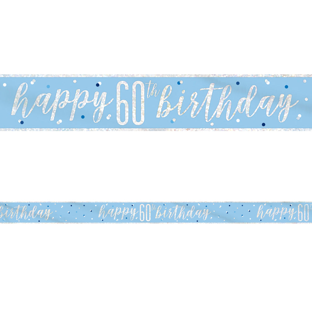 Birthday Glitz Blue Happy 60th Birthday Foil Banner - 2.7m