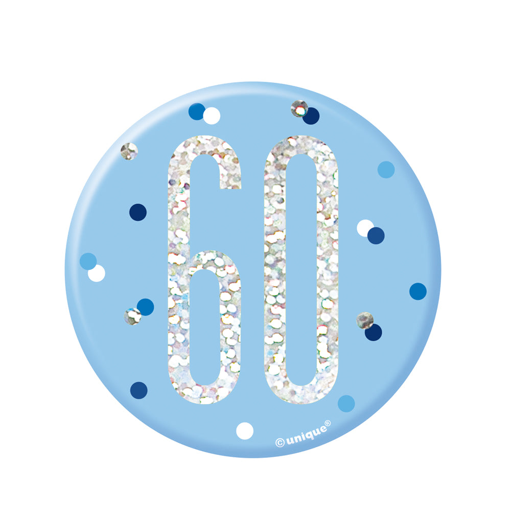 Birthday Glitz Blue '60' Prismatic Badge - 15.3cm