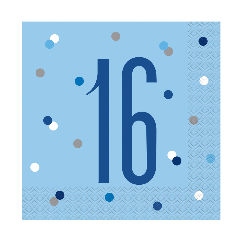 Birthday Glitz Blue 16th Paper Napkins - 33cm - Pack of 16
