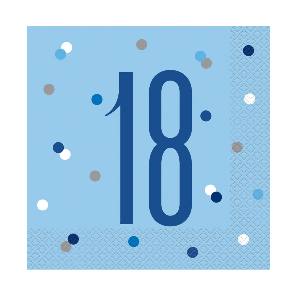 Birthday Glitz Blue 18th Paper Napkins - 33cm - Pack of 16
