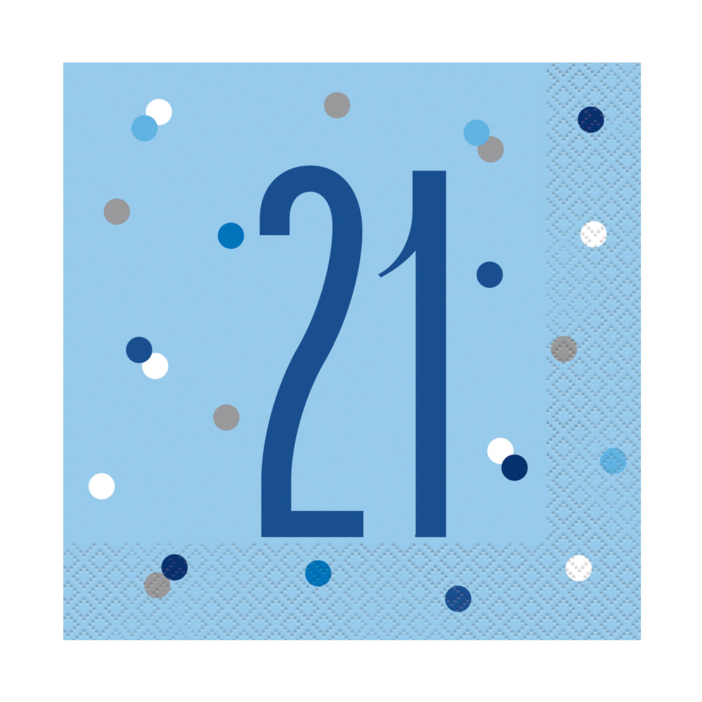Birthday Glitz Blue 21st Paper Napkins - 33cm - Pack of 16