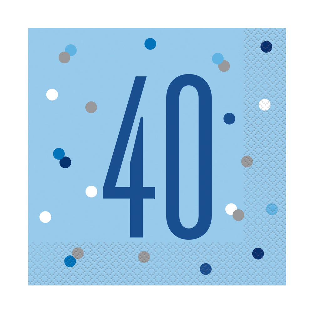 Birthday Glitz Blue 40th Paper Napkins - 33cm - Pack of 16