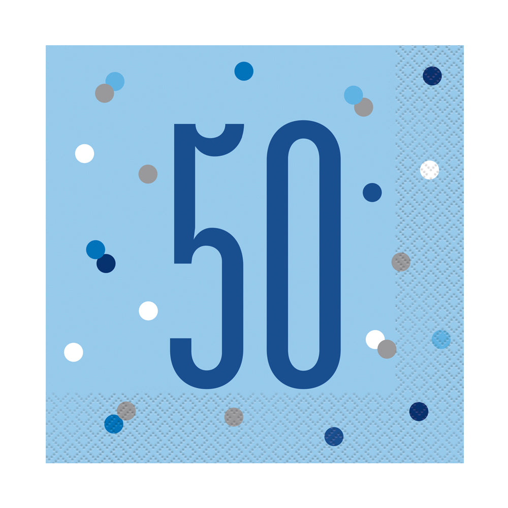 Birthday Glitz Blue 50th Paper Napkins - 33cm - Pack of 16