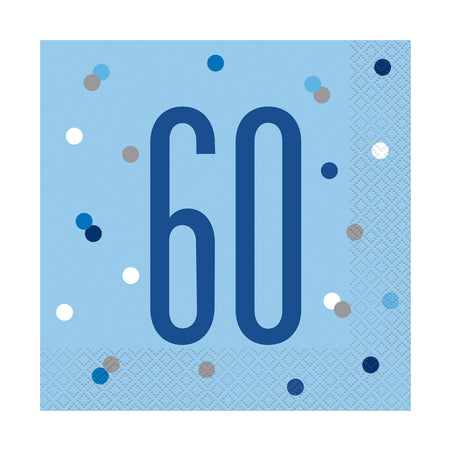Birthday Glitz Blue 60th Paper Napkins - 33cm - Pack of 16