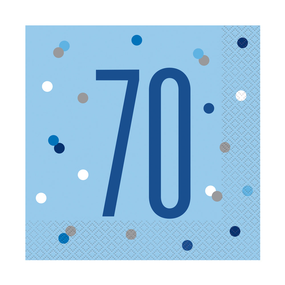 Birthday Glitz Blue 70th Paper Napkins - 33cm - Pack of 16