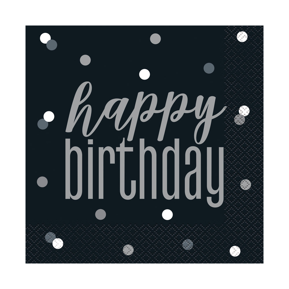 Birthday Glitz Black & Silver 'Happy Birthday' Luncheon Napkins - 3-Ply - Pack of 16