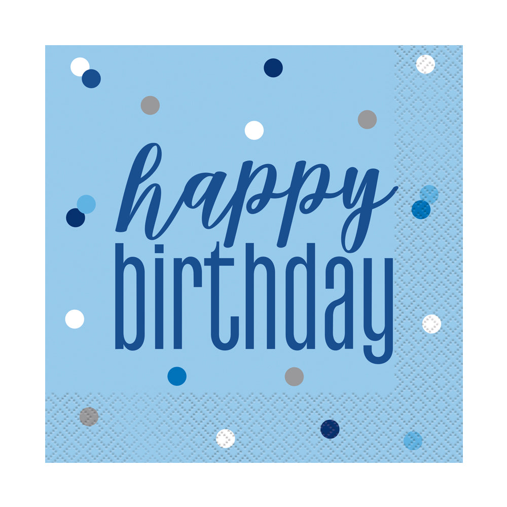 Birthday Glitz Blue Happy Birthday Paper Napkins - 33cm - Pack of 16