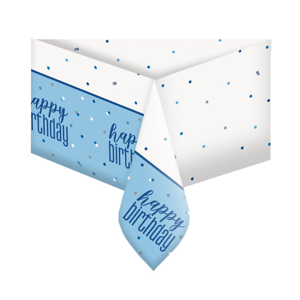 Birthday Glitz Blue Plastic Printed Tablecloth - 2.1m