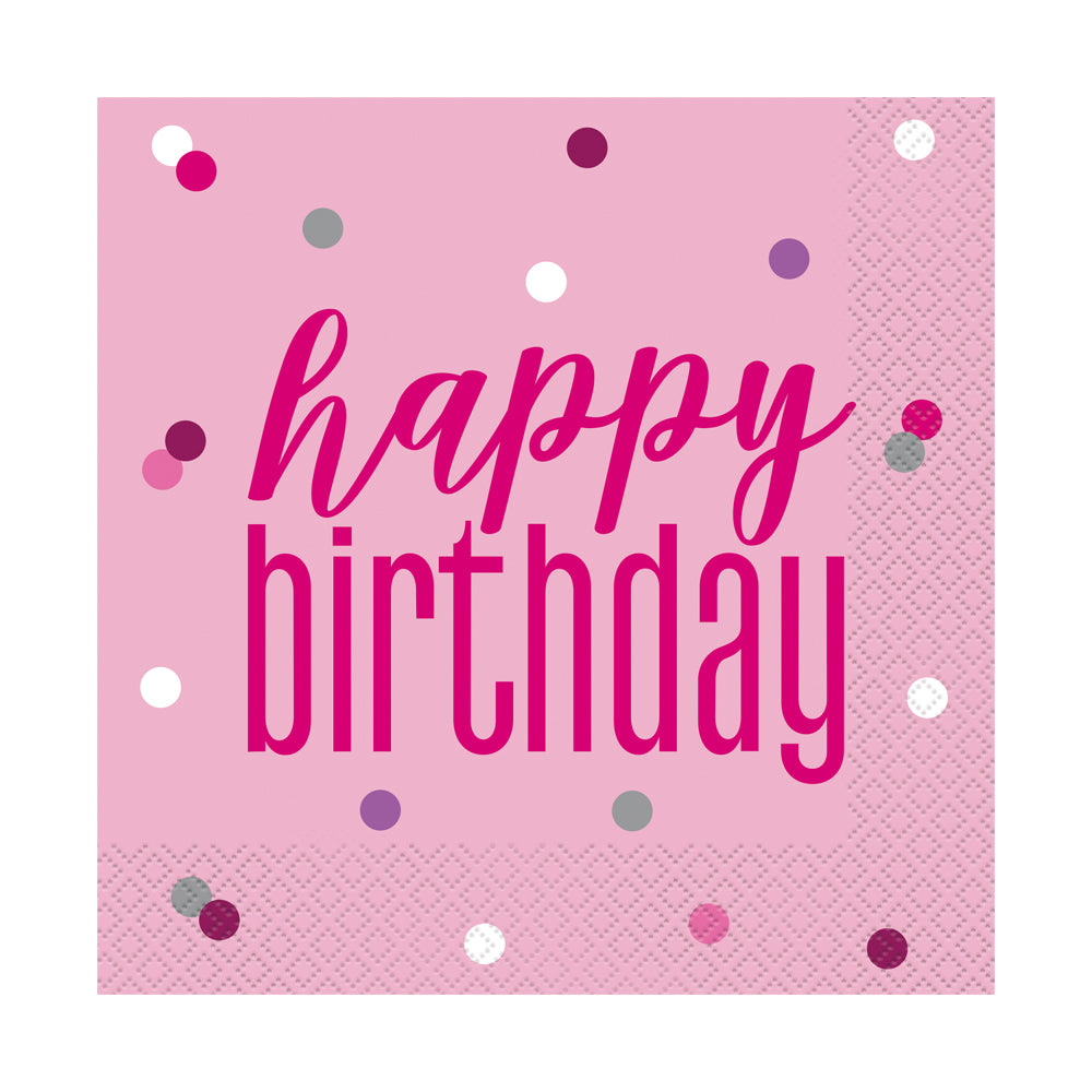 Birthday Glitz Pink 'Happy Birthday' Luncheon Napkins - 3-Ply - Pack of 16
