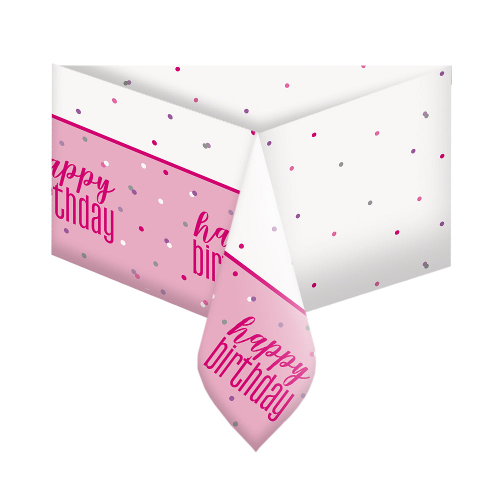 Birthday Glitz Pink Plastic Printed Tablecloth - 2.1m