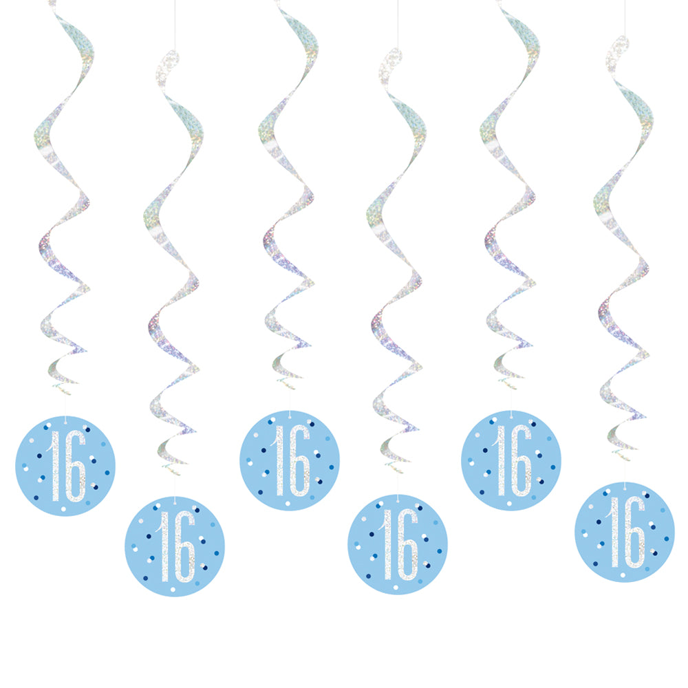 Birthday Glitz Blue 16th Hanging Swirl Decorations - 80cm - Pack of 6