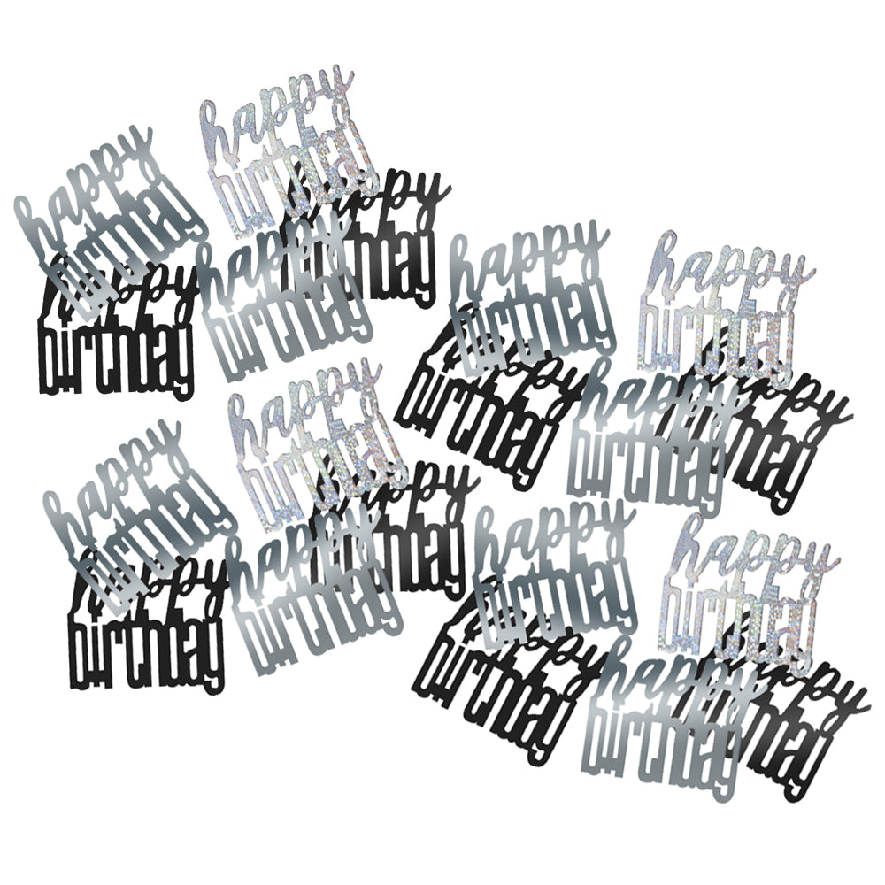 Birthday Glitz Black & Silver 'Happy Birthday' Confetti - 14.1g