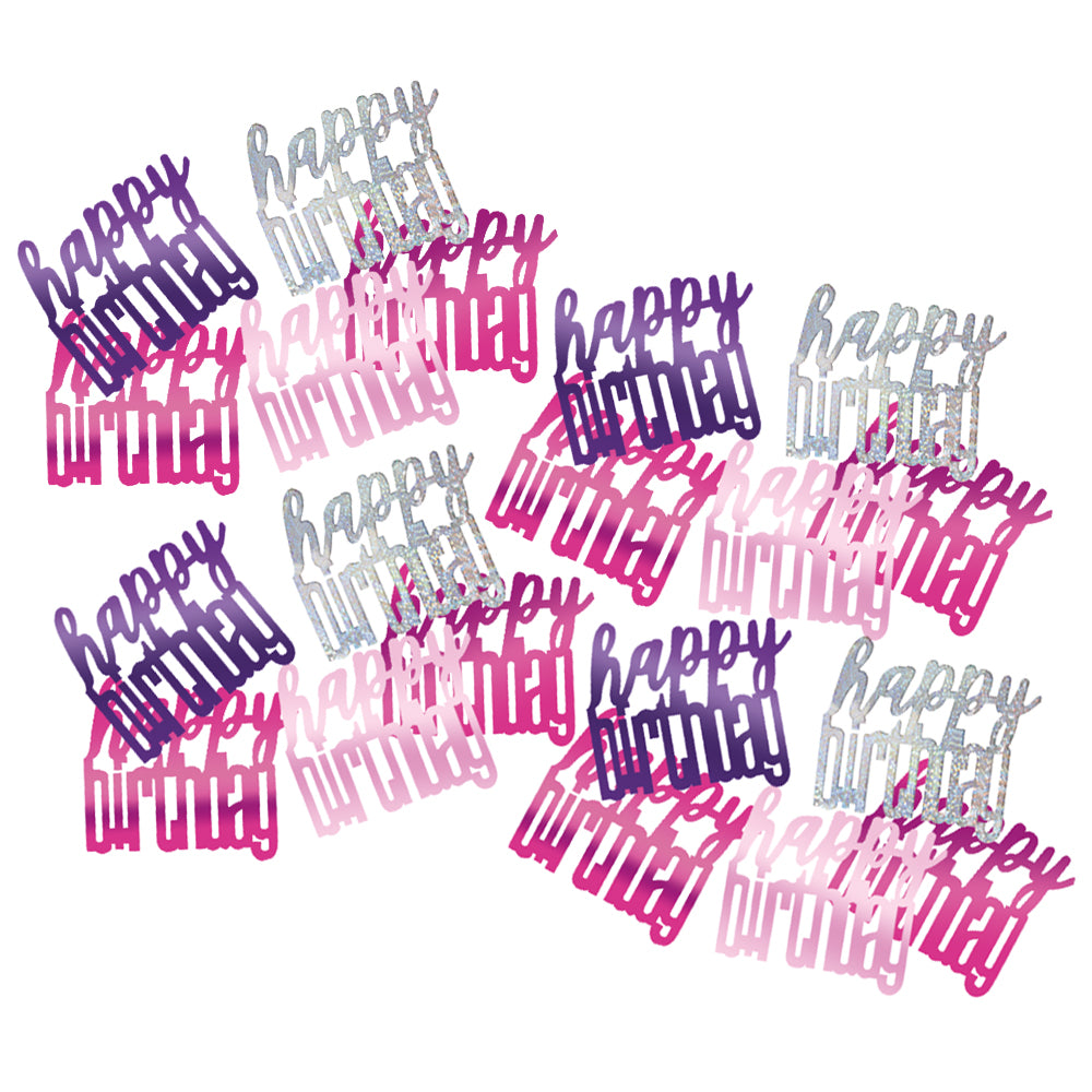 Birthday Glitz Pink 'Happy Birthday' Confetti - 14.1g