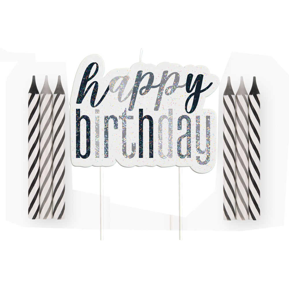 Birthday Glitz Black & Silver Happy Birthday Candle Set - 8cm - Pack of 13