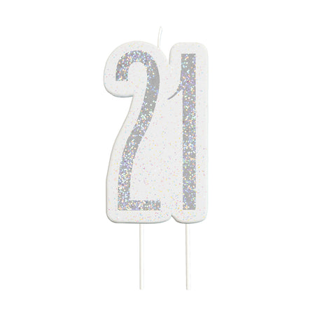 Glitz Black '21' Candle - 6cm - Each