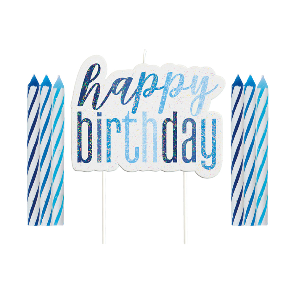 Birthday Glitz Blue Happy Birthday Candle Set - 6cm