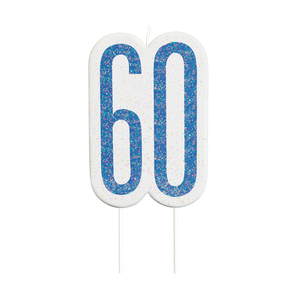 Birthday Glitz Blue 60th Candle - 6cm