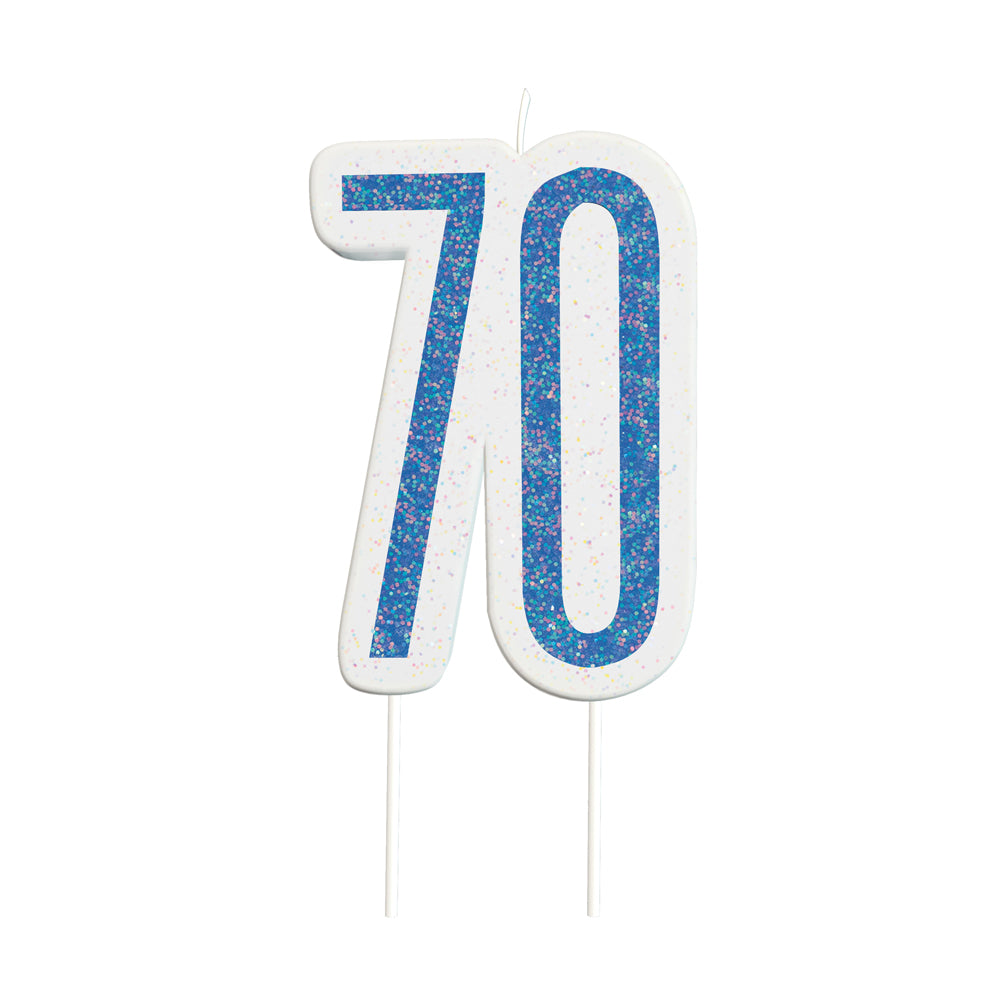 Birthday Glitz Blue 70th Candle - 6cm