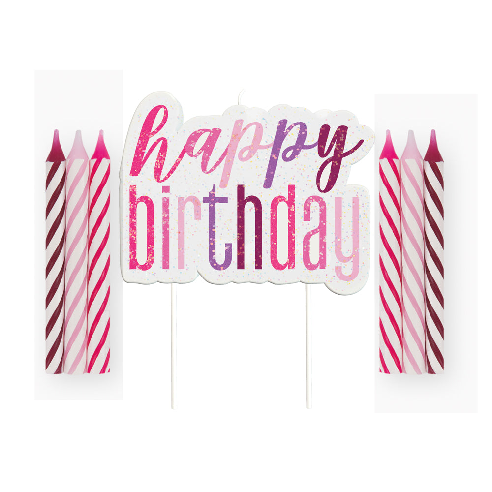 Birthday Glitz Pink Happy Birthday Candle Set - 8cm - Pack of 13