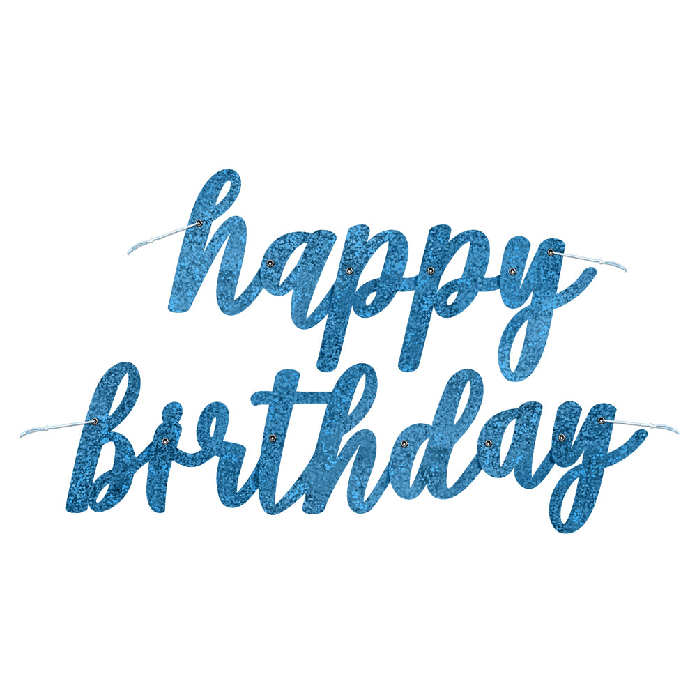 Birthday Glitz Blue Happy Birthday Script Letter Banner - 2.7m