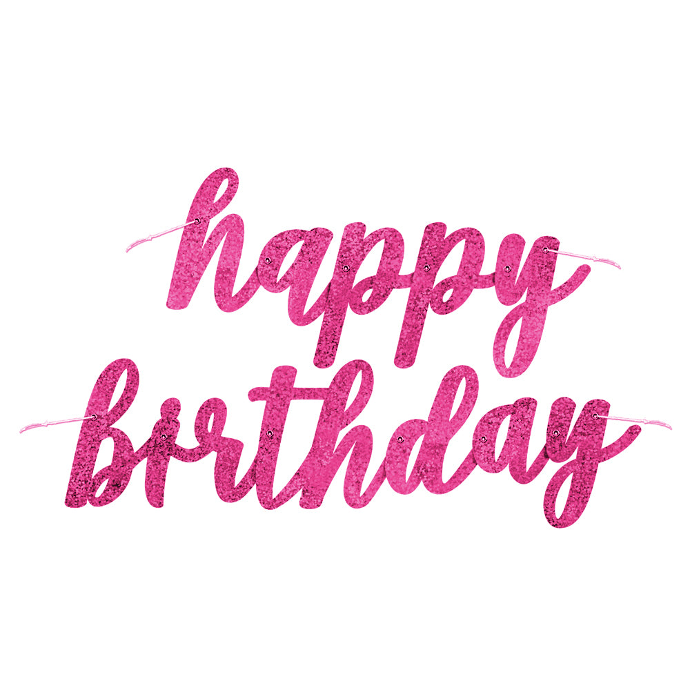 Pink Glitz Jointed 'Happy Birthday' Letter Banner