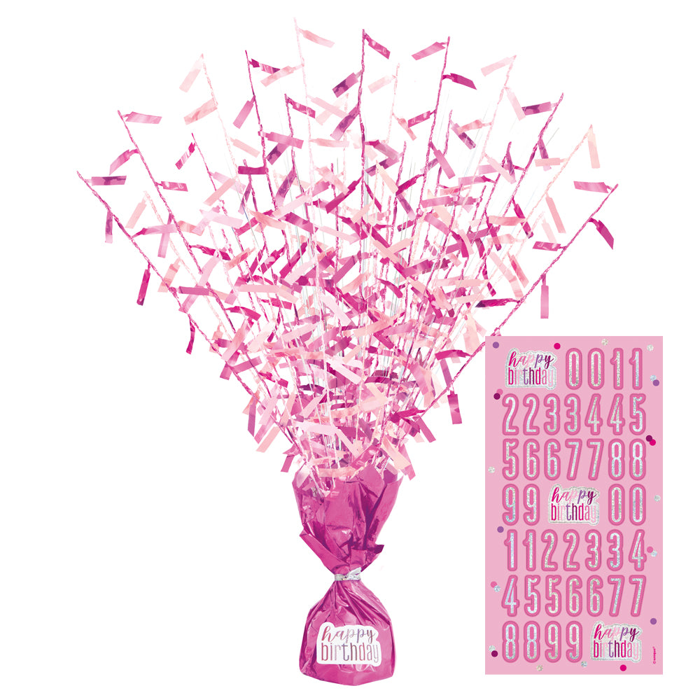 Birthday Glitz Pink Confetti Foil Balloon Weight/Centrepiece