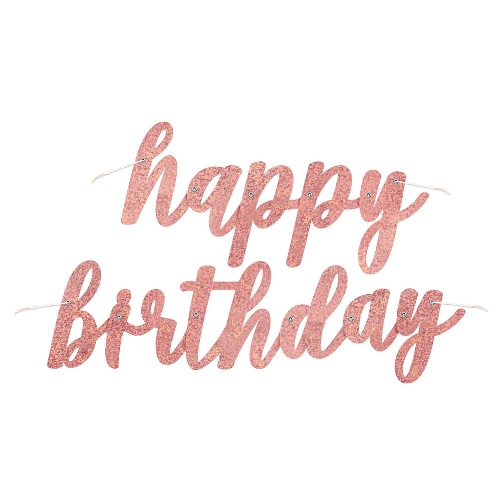 Birthday Glitz Rose Gold Happy Birthday Script Letter Banner - 2.7m