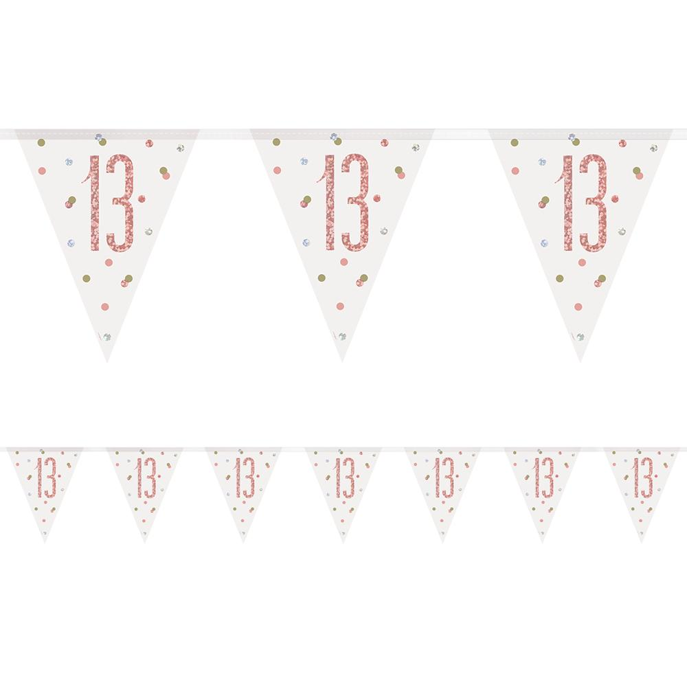 Birthday Glitz Rose Gold 13th Flag Bunting