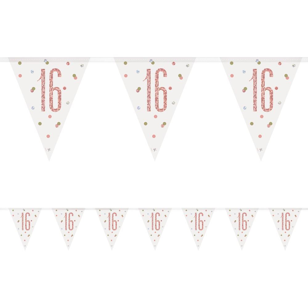 Birthday Glitz Rose Gold 16th Flag Bunting - 2.7m