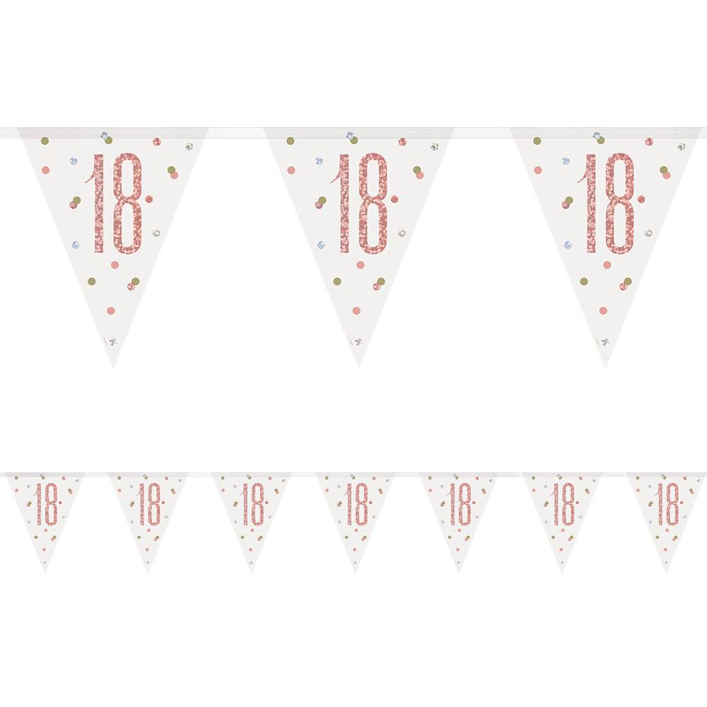 Birthday Glitz Rose Gold 18th Flag Bunting - 2.7m