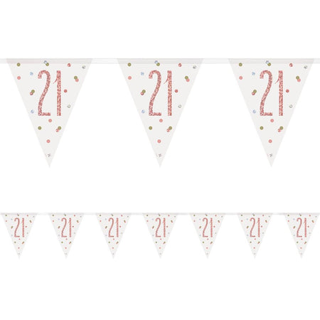 Birthday Glitz Rose Gold 21st Flag Bunting - 2.7m