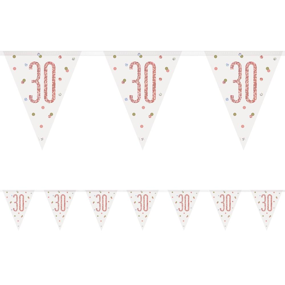 Birthday Glitz Rose Gold 30th Flag Bunting - 2.7m