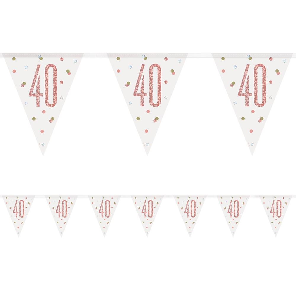 Birthday Glitz Rose Gold '40' Prismatic Bunting - 2.7m