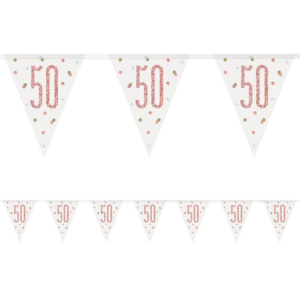 Birthday Glitz Rose Gold 50th Flag Bunting - 2.7m