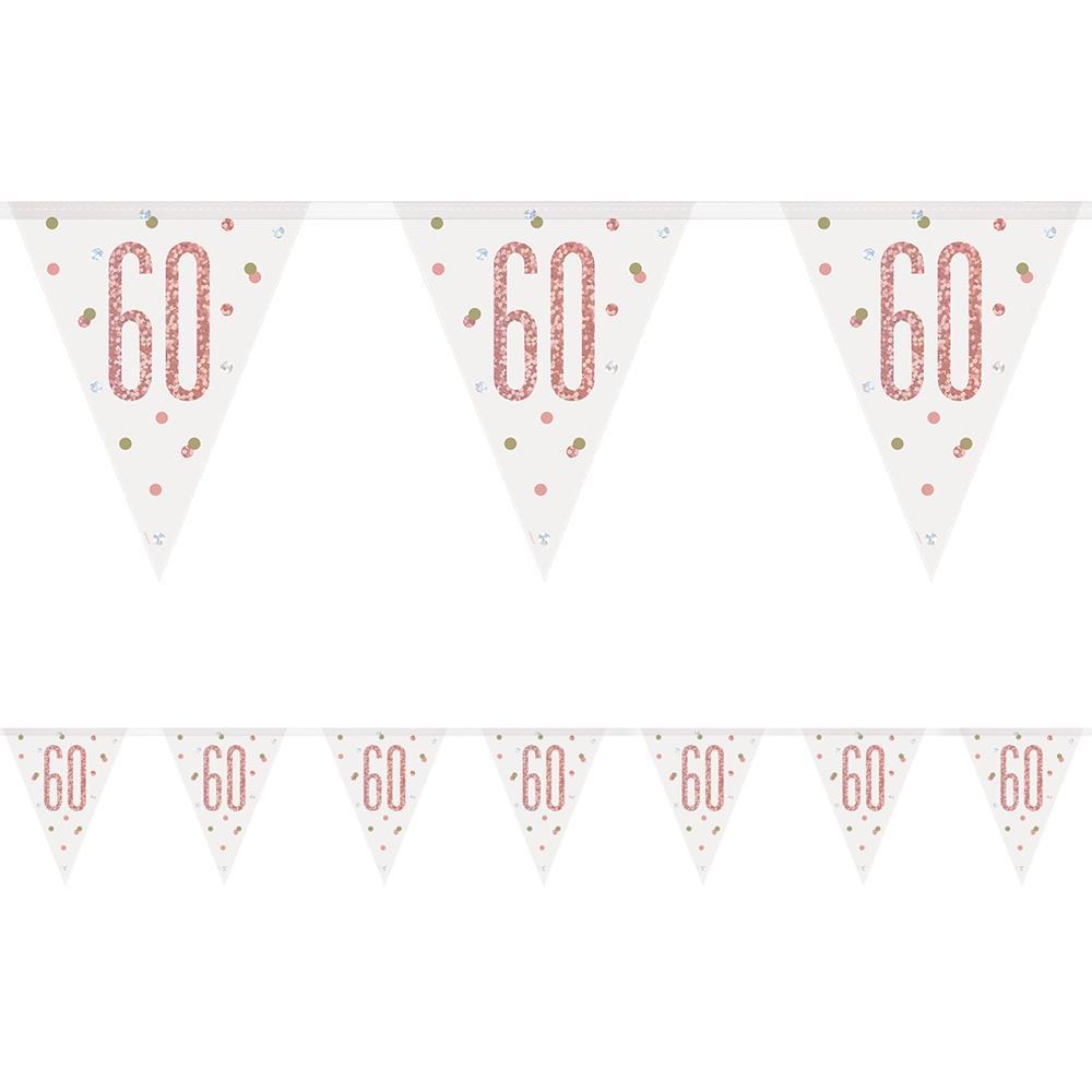 Birthday Glitz Rose Gold 60th Flag Bunting - 2.7m
