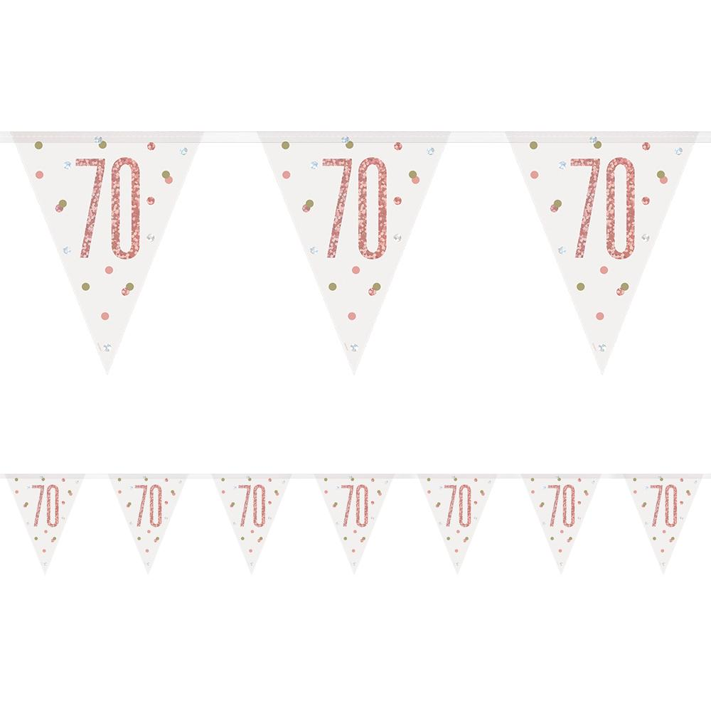 Birthday Glitz Rose Gold 70th Flag Bunting - 2.7m
