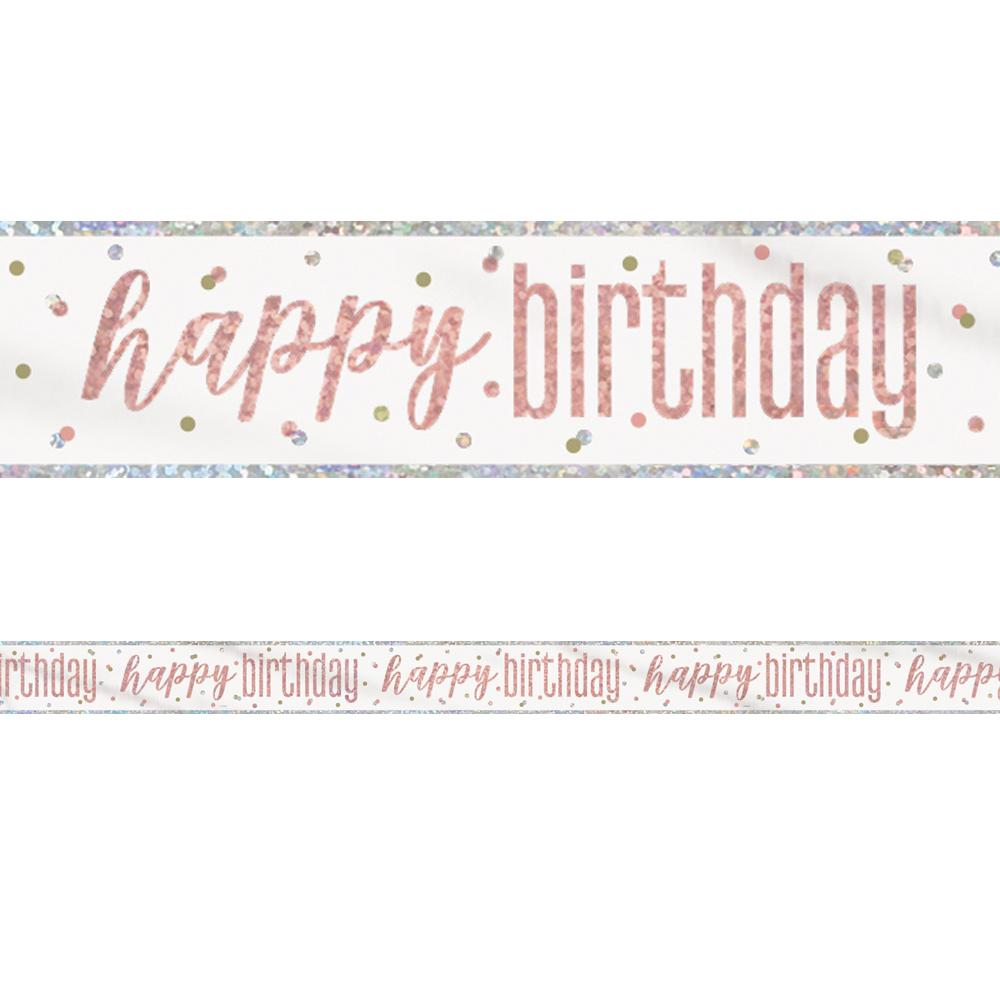 Birthday Glitz Rose Gold 'Happy Birthday' Prismatic Banner - 2.7m