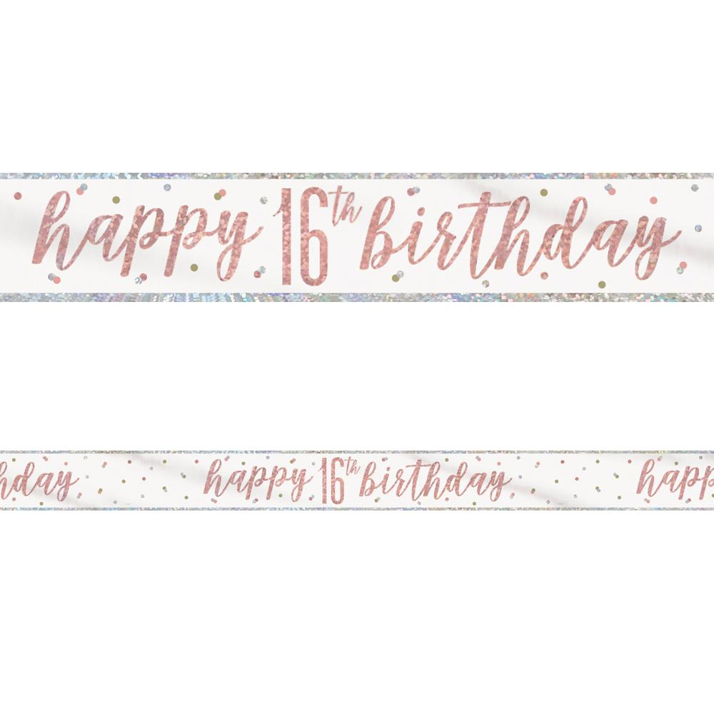 Birthday Glitz Rose Gold 'Happy 16th Birthday' Prismatic Banner - 2.7m