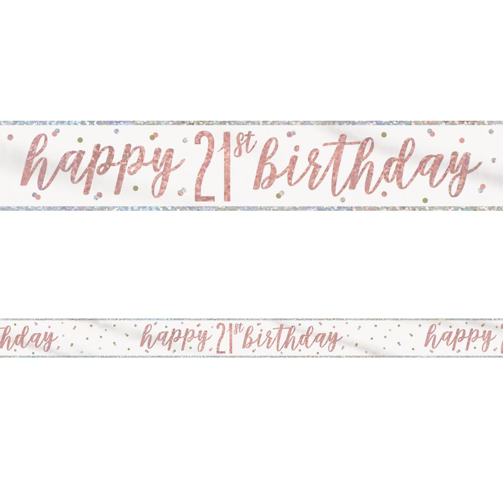 Birthday Glitz Rose Gold Happy 21st Birthday Foil Banner - 2.7m