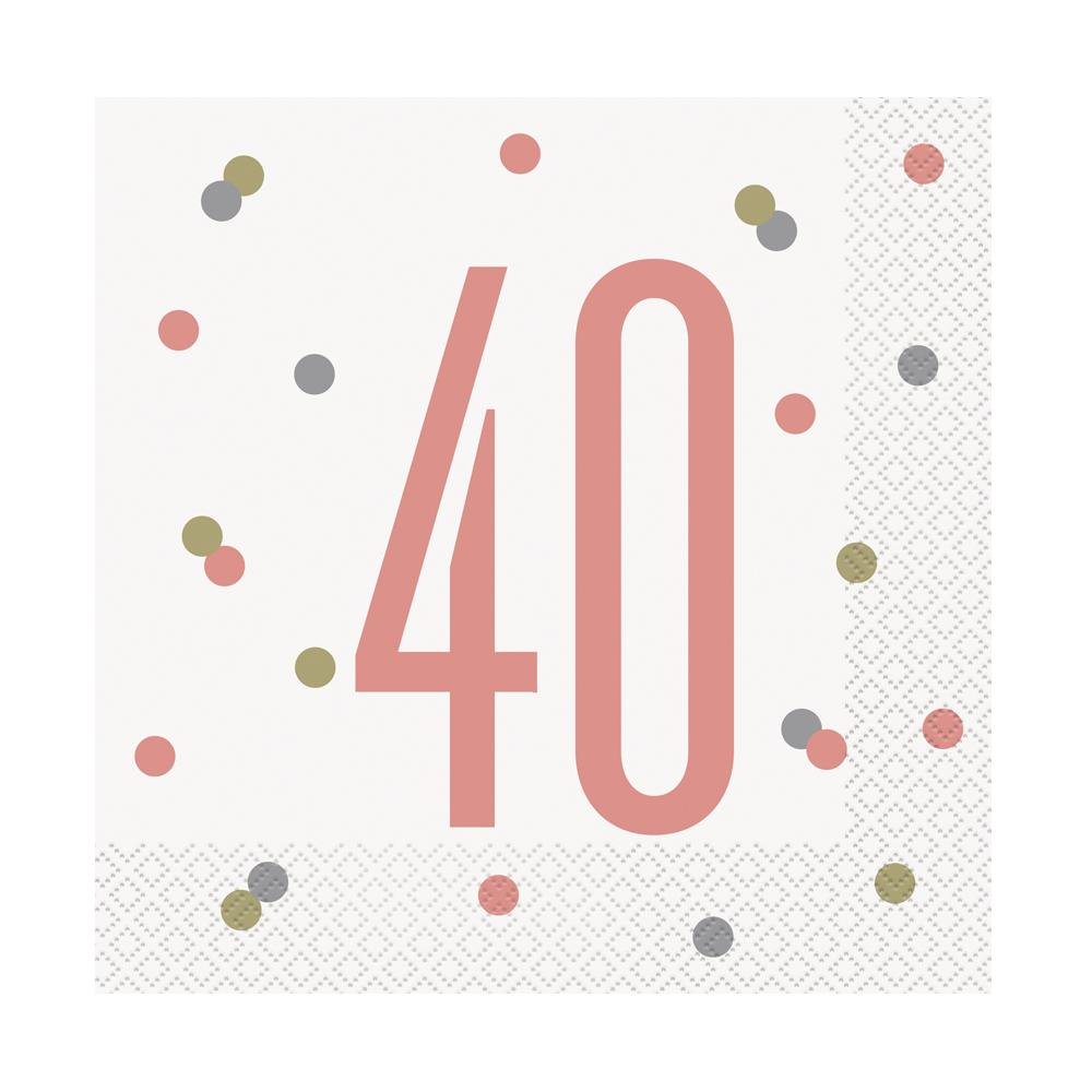 Birthday Glitz Rose Gold '40' Luncheon Napkins - Pack of 16