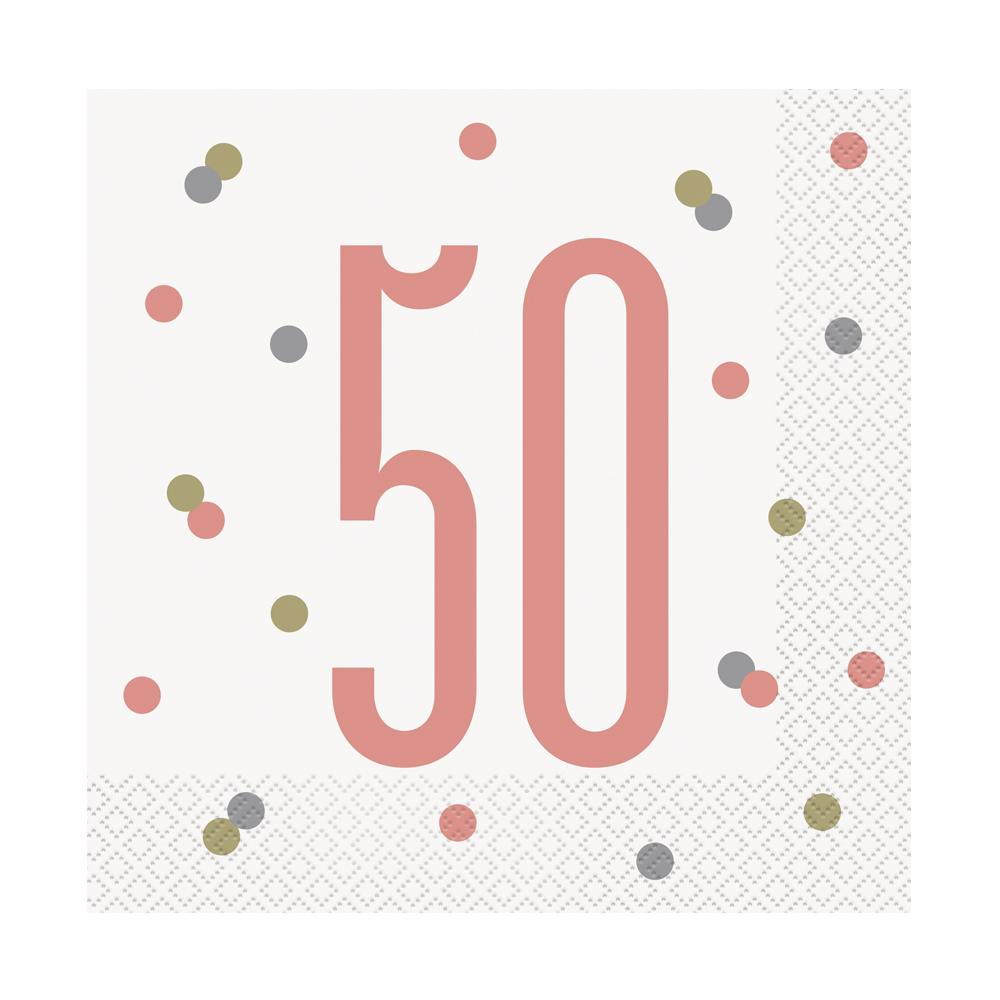 Birthday Glitz Rose Gold '50' Luncheon Napkins - Pack of 16