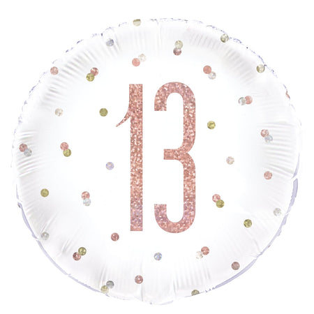 Birthday Glitz Rose Gold '13' Prismatic Foil Balloon - 18