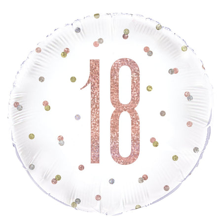 Birthday Glitz Rose Gold 18th Prismatic Foil Balloon - 18