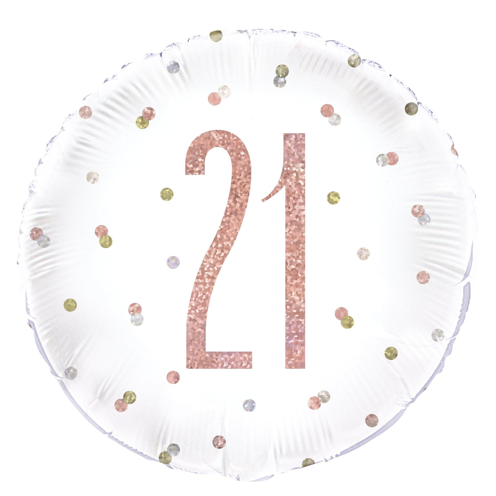 Birthday Glitz Rose Gold '21' Prismatic Foil Balloon