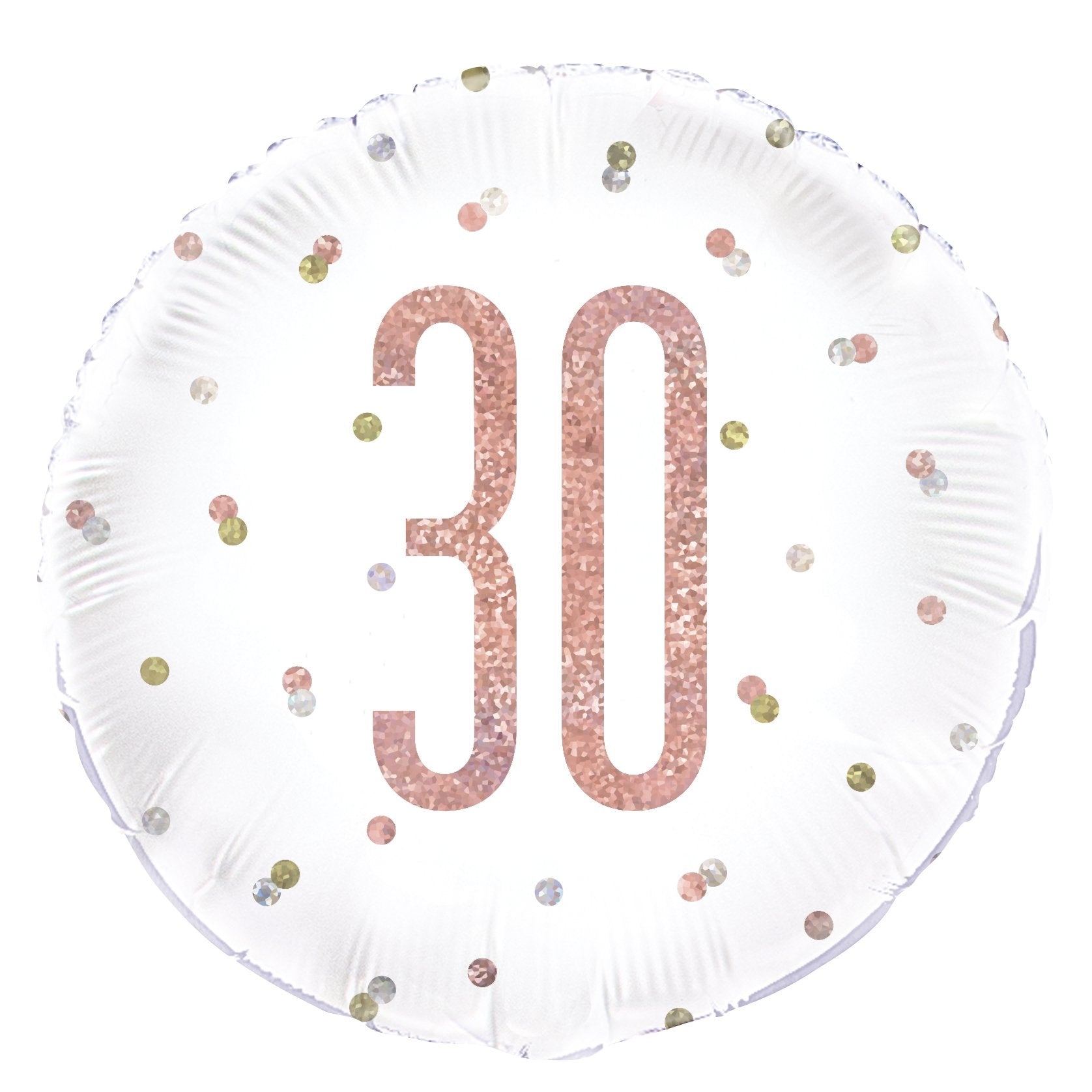 Birthday Glitz Rose Gold '30' Prismatic Foil Balloon - 18""