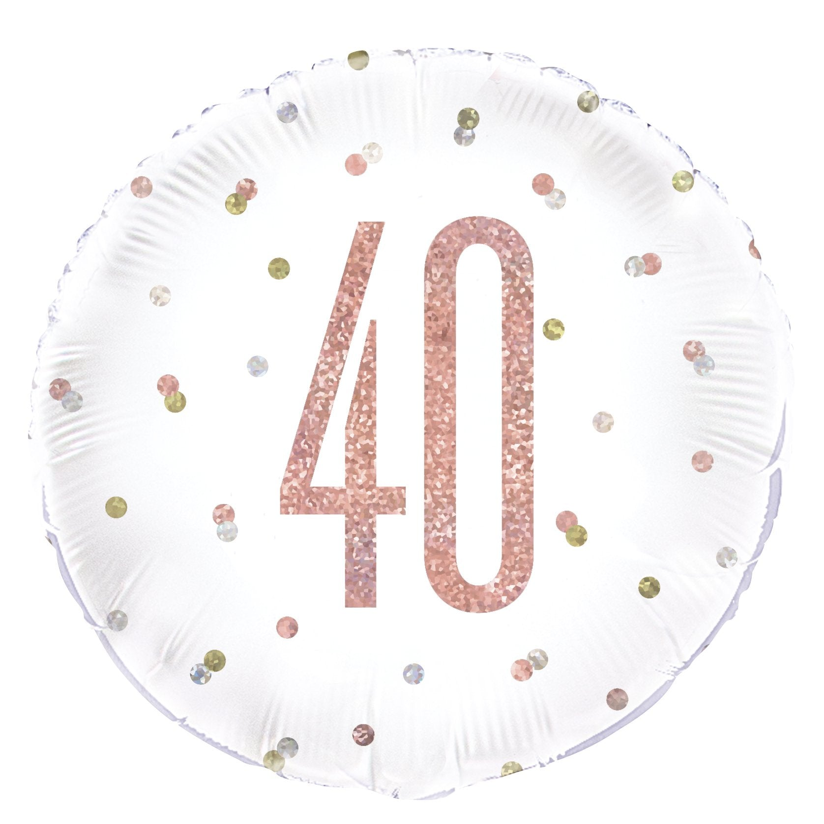 Birthday Glitz Rose Gold '40' Prismatic Foil Balloon - 18""