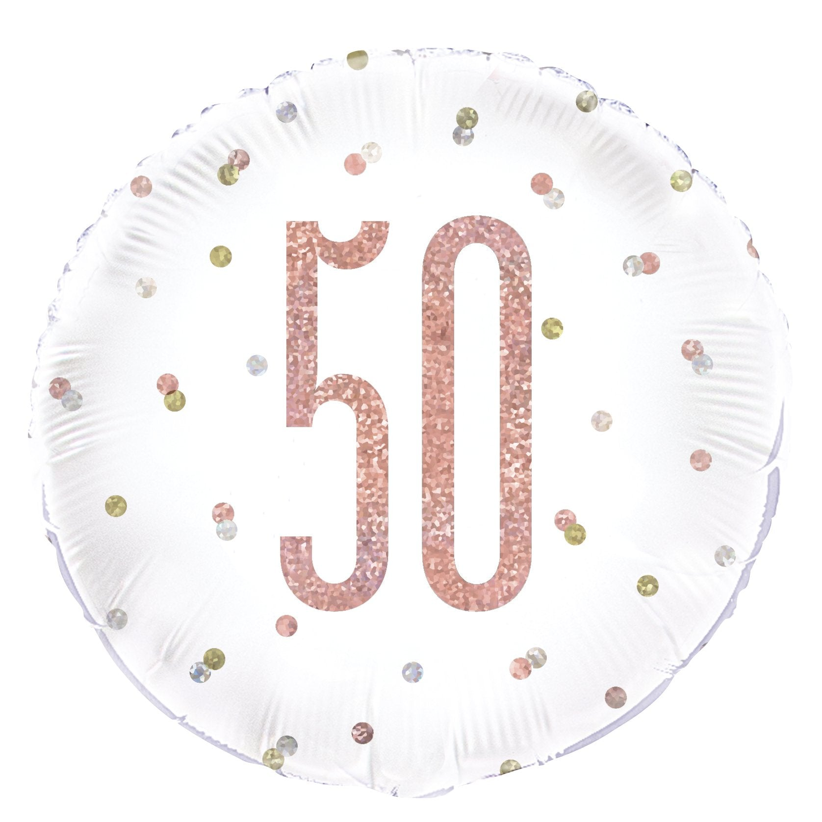 Birthday Glitz Rose Gold '50' Prismatic Foil Balloon